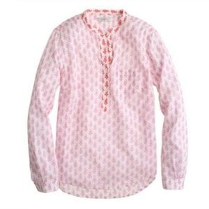 J.Crew Pink and Red Thistle-Print Popover
